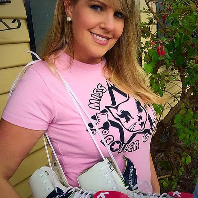 SALE! Miss Meow Roller Girl Logo Tee PINK