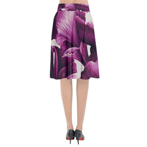 Purple Spring Flower Print Midi Flare Skirt *Limited Edition*