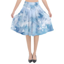 Load image into Gallery viewer, Blue Watercolor Midi Skirt