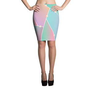 Pastel Glass Pencil Skirt