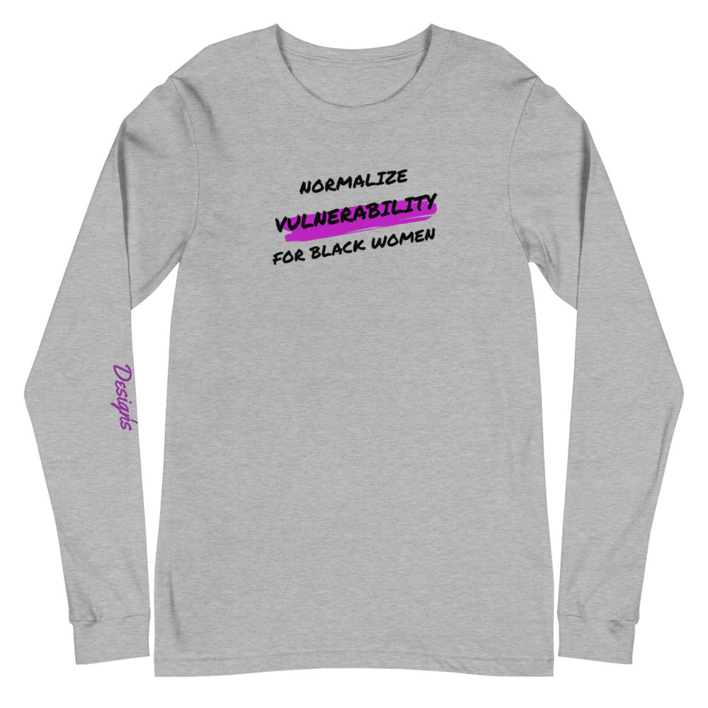 Black Woman Vulnerability Unisex Long Sleeve Tee