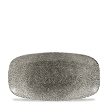 Load image into Gallery viewer, QUARTZ BLACK - OBLONG PLATE - RAKU