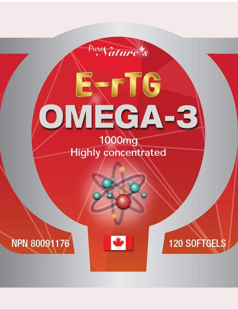 E-rTG OMEGA 3 - 1000mg 120 Soft Gels - PNC Pure Natures Canada