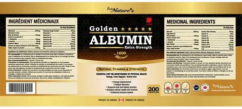 Golden Albumin Extra Strength - 200 Capsules - PNC Pure Natures Canada