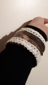 Upcycled Cotton & Driftwood Bracelet Cuff