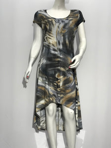 Cap Sleeve Dress Abstract Print - americanfashion2