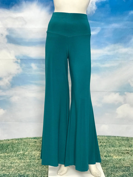 Jade Color High Waisted Palazzo Pants - americanfashion2