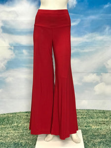 Red Color High Waisted  Palazzo Pants - americanfashion2