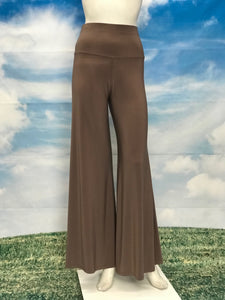 Taupe Color High Waisted Palazzo Pants - americanfashion2