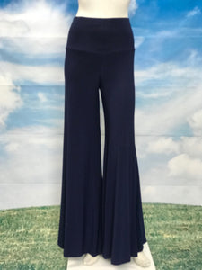 Navy Color High Waisted  Palazzo Pants - americanfashion2