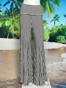 Black Beige Stripe High Waisted Palazzo Pants - americanfashion2