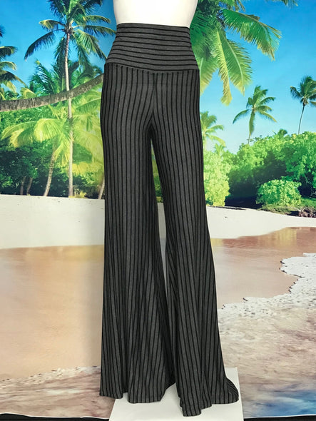 Black Charcoal Stripe High Waisted Palazzo Pants - americanfashion2