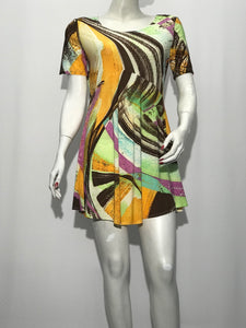 Short Sleeve Abstract Print Tunic - americanfashion2