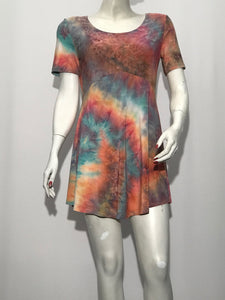 Short Sleeve Tie Dye Printed Tunic - americanfashion2