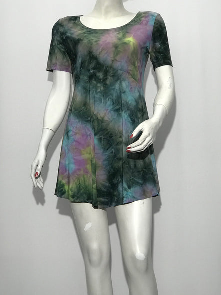 Short Sleeve Printed Tie Dye Tunic - americanfashion2