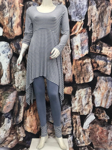Denim Stripe Long Sleeve Tunic - americanfashion2