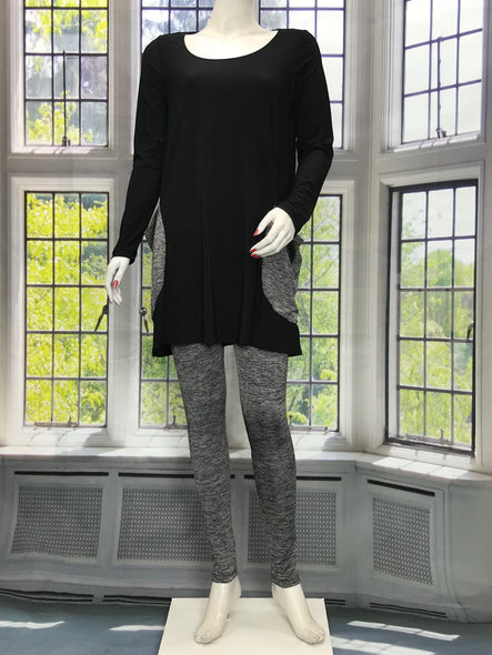 Long Sleeve Tunic with Charcoal Gray Pockets - americanfashion2