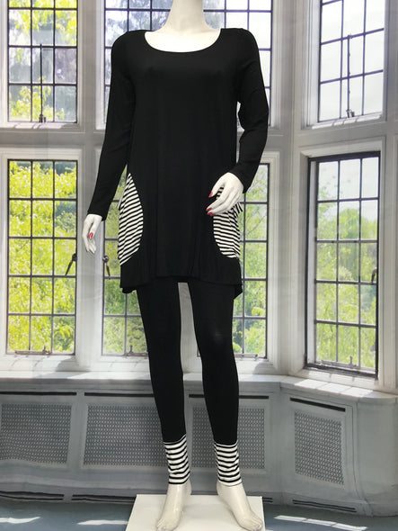 Long Sleeve Tunic with Black Beige Stripe Pockets - americanfashion2