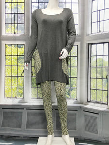 Long Sleeve Tunic with Gray Lime Pockets - americanfashion2