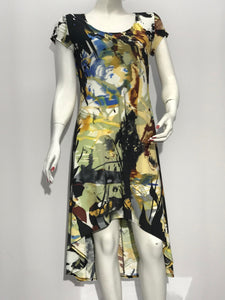 Cap Sleeve Abstract Print Dress - americanfashion2