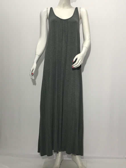 Flare Casual Maxi Dress in Charcoal - americanfashion2