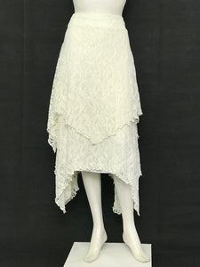 Ivory High Waisted Skirt Flare Double Layer - americanfashion2