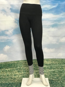 Black Color High Waist Leggings Black Ivory Stripe Cuffs - americanfashion2