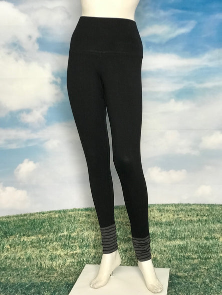 Black Color High Waisted Leggings Black Charcoal Stripe Cuffs - americanfashion2