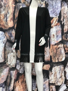 Fringes Duster Cardigan Black Color - americanfashion2