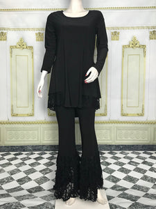 Lace Trim Long Sleeve Tunic - americanfashion2