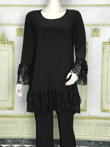 Ruffle Lace Long Sleeve Tunic - americanfashion2