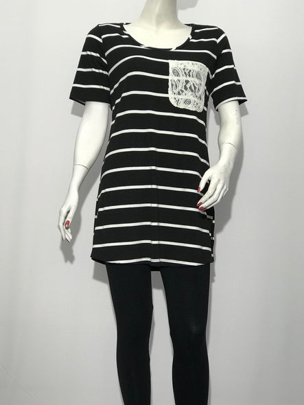 Short Sleeve Stripe Tunic with Lace Pocket - americanfashion2
