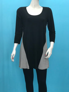 3/4 Sleeve Stripe Tunic - americanfashion2