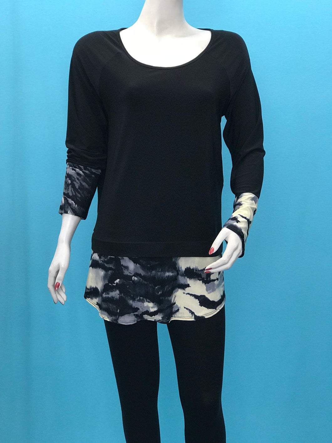 Printed Cuff Long Sleeve Tunic - americanfashion2
