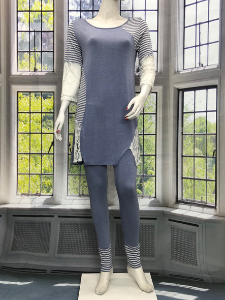 Color Block Denim Tunic - americanfashion2