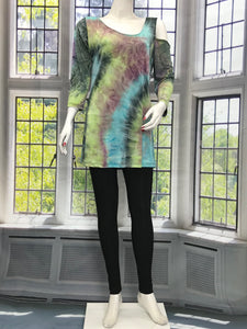 One Sided Cold Shoulder Long Sleeve Tunic Print - americanfashion2