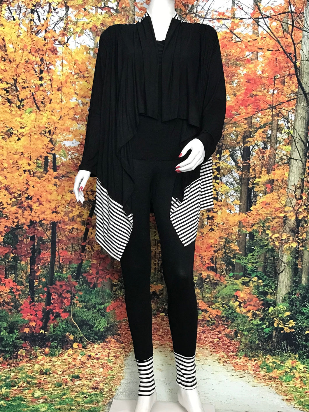 Duster Cardigan Black Beige Stripe - americanfashion2