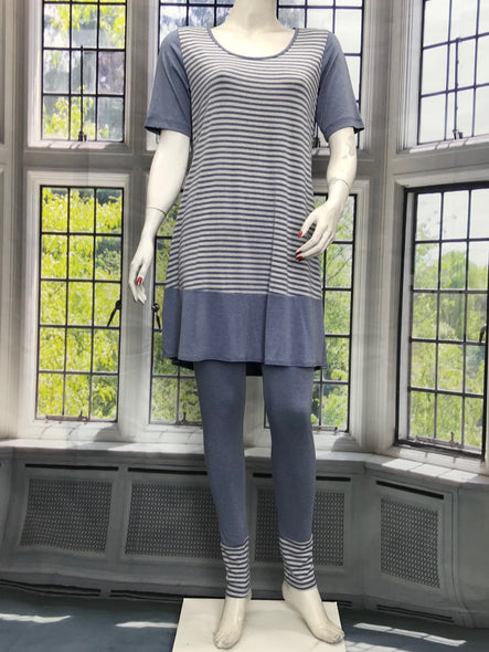 Color Block Tunic Denim Color Stripe - americanfashion2