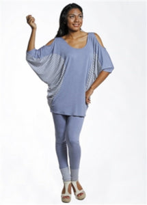 3/4 Sleeve Kimono Cold Shoulder Tunic - americanfashion2