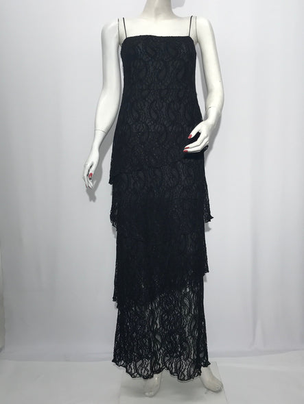 Spaghetti Strap Maxi Layer Lace Dress - americanfashion2