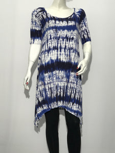 Tie Dye Elbow Sleeve Tunic - americanfashion2