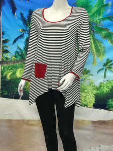 Stripe Swing Tunic Tops - americanfashion2
