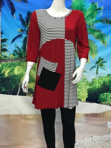 3/4 Sleeve Red Color Block Tunic - americanfashion2