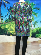 3/4 Sleeve Print Color Block Tunic - americanfashion2