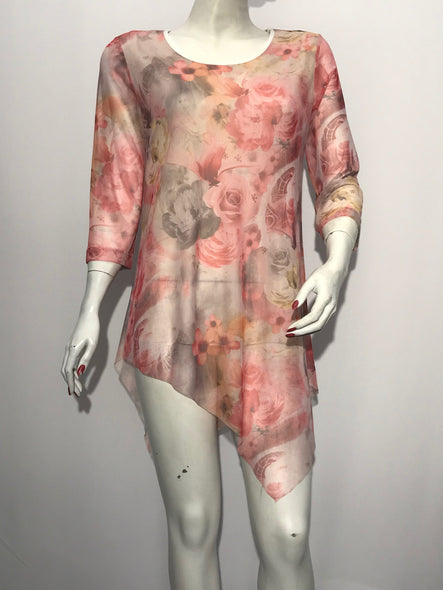 Printed Mesh Tunic - americanfashion2