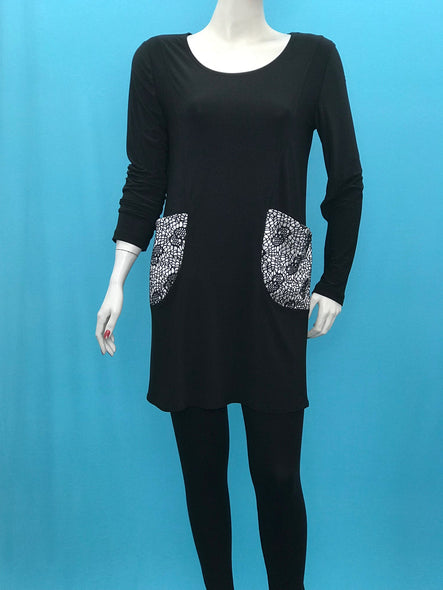 Long Sleeve Tunic Black White Pockets - americanfashion2