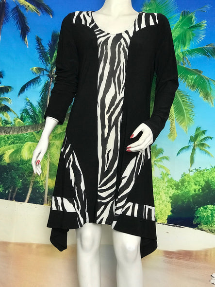 A Line Long Sleeve Zebra Color Block Dress - americanfashion2