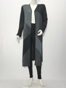 Long Sleeve Long Color Block Duster Cardigan - americanfashion2