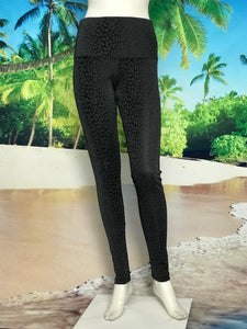 Black Charcoal Print High Waisted Leggings - americanfashion2