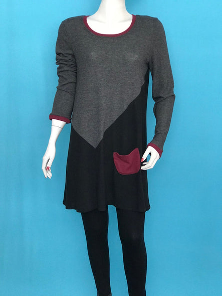 Long Sleeve Color Block Tunic small Pocket - americanfashion2